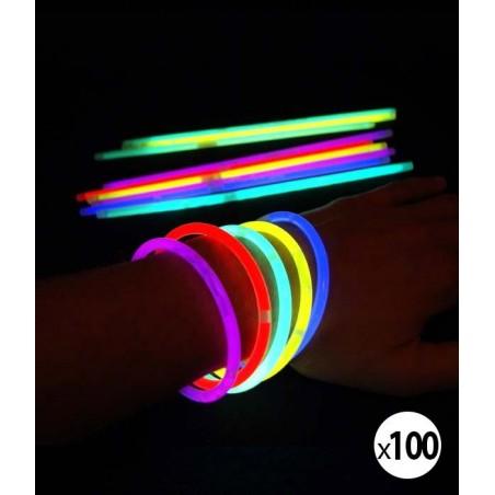 Tube de 100 bracelets fluorescent lumineux par chimiluminescence - marque de qualité supérieure - Superbrite® premium glow