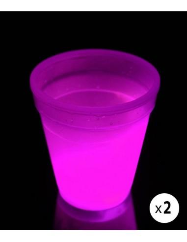 2 Verres Lumineux Fluorescent PowerGlass™ 35 cl - Rose - Décorez votre bar avec ces verres fluorescent à double paroi