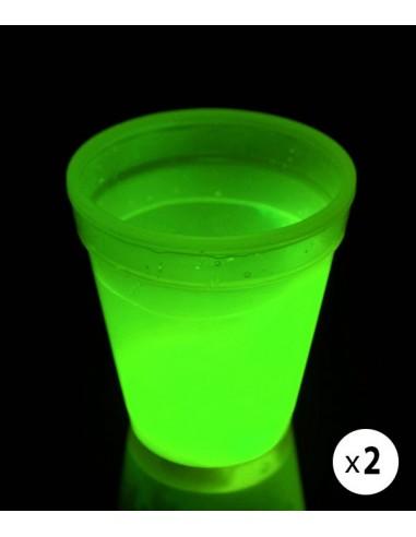 2 Verres Lumineux Fluorescent PowerGlass™ 35 cl - Vert - Décorez votre bar avec ces verres fluorescent à double paroi