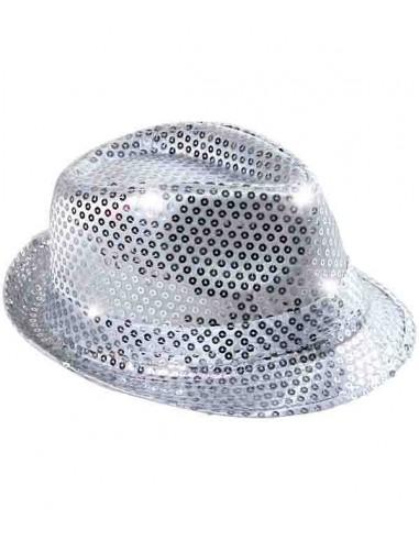 Fedora Chapeau Avec Clignotant DEL Lumières Noir Argent Or Rouge