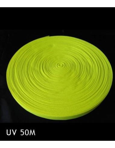 Bande Fluorescente synthétique Jaune fluo 50 mètres 25 mm - Décorer, baliser un terrain soirée sport fluo