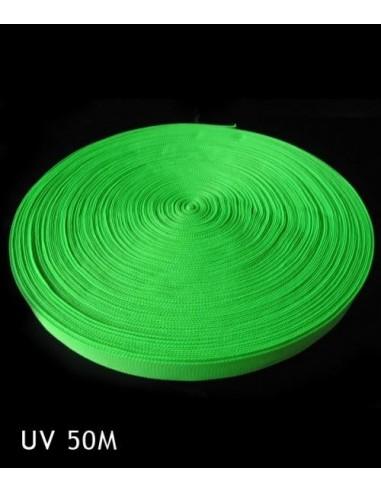 Bande Fluorescente synthétique Vert fluo 50 mètres 25 mm - Décorer, baliser un terrain soirée sport fluo