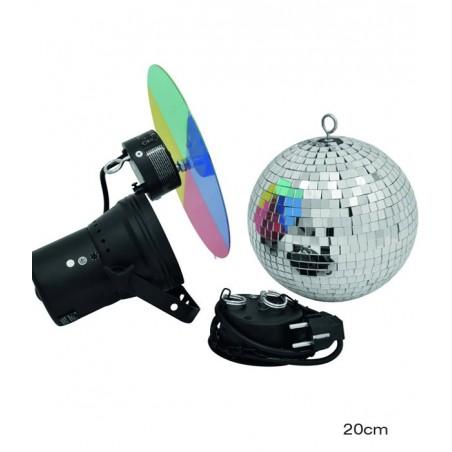Kit Boules à facettes 20cm avec spot éclairage - Eurolite - 50101855