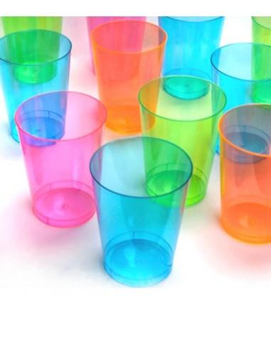50 Gobelets Fluo UV assortis 29cl - Réactif à la lumière noire qui les rend fluorescent