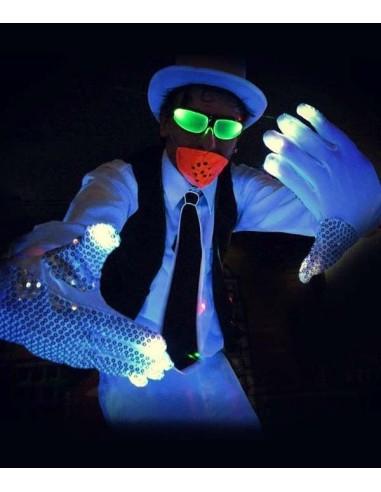 Paire Gants Lumineux LED À Sequins Michael - Mickael Jackson