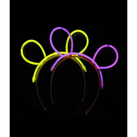 Oreilles bunny lumineuses - Batonnets à craquer pour activer la lumière et à monter sur le serre-tête pour former les oreilles.