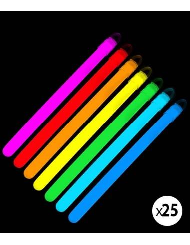 Pack de 25 bâtons lumineux fluorescent à craquer - chimiluminescent - de couleurs assorties