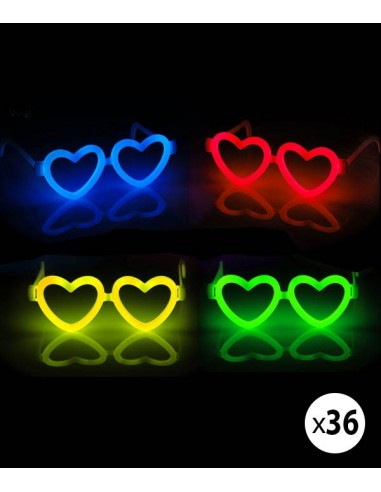 Pack 36 Lunettes Fluo Coeur Assorties