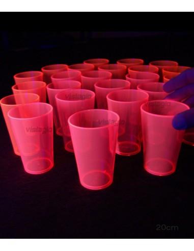 24 Verres Fluorescent sous UV - ROUGE