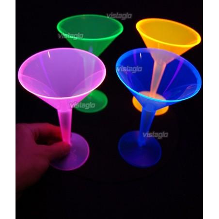 Verres cocktails Martini fluo réactifs à la lumière noire (12pcs) - 23cl