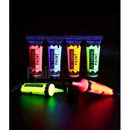 Tube de peinture fluorescente pour textiles - Matière tissu coton vêtement - Brille sous lumière noire