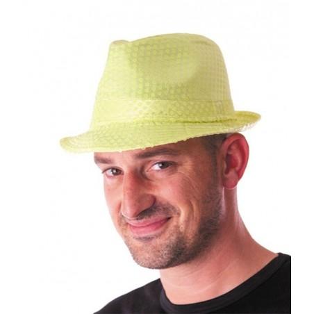 Chapeau Borsalino Jaune Fluo à Sequins
