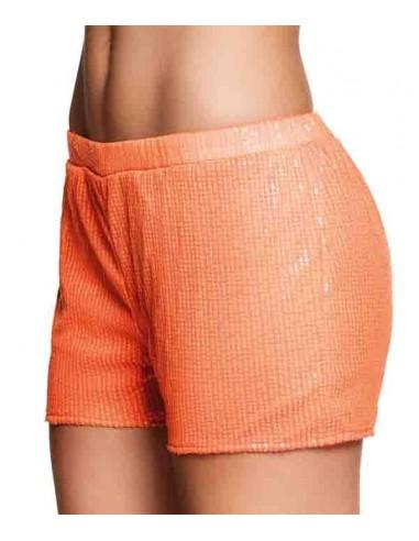 Short à sequins - Orange FLUO - Taille M