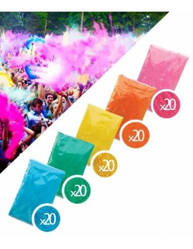 PACK 100 Sachets Poudre Holi 5 couleurs