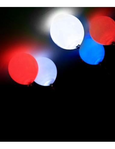 5 Ballons Lumineux LED Bleu Blanc Rouge