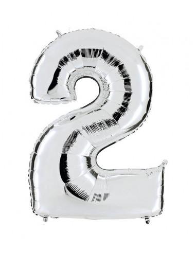 Ballon Géant Chiffre 2 (102cm) ARGENT - mylar foil métallisé - gonflable à l'hélium