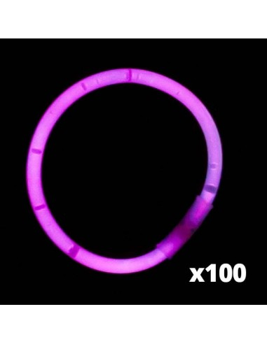 100 Bracelets Lumineux Fluorescent - Standard - Rose - Vistaglo