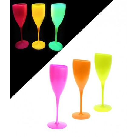 Pack 6 Flutes à champagne Fluorescentes Incassables - ROSE