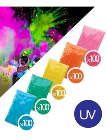 PACK 500 Sachets Poudre Holi Fluo UV...