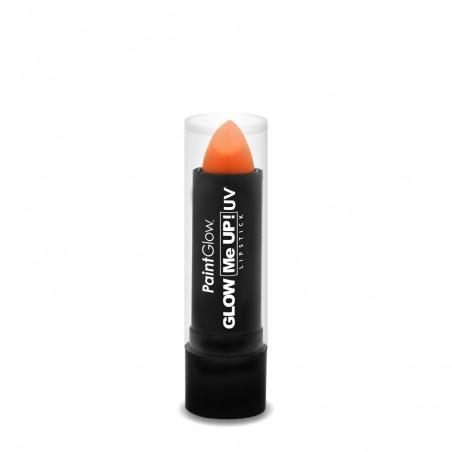 Rouge à lèvre fluorescent orange réactif à la lumière noire UV qui le fait briller dans le noir