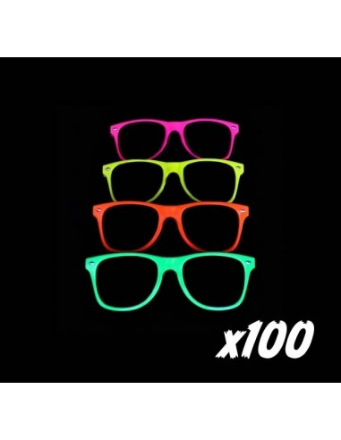 PACK - 100 Lunettes Fluo Néon Assorties