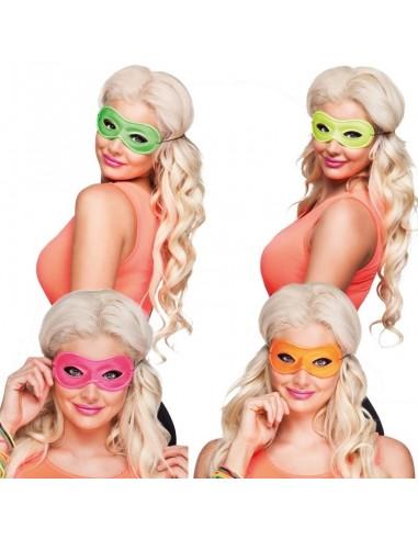 1 Masque Loup Fluo - Couleur Aléatoire - Accessoire déguisement carnaval fluo