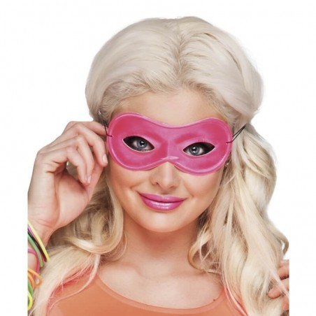 1 Masque Loup Fluo - Couleur rose - Accessoire déguisement carnaval fluo