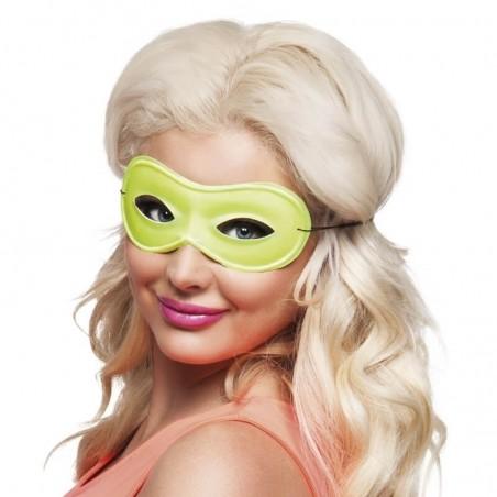 1 Masque Loup Fluo - Couleur jaune - Accessoire déguisement carnaval fluo