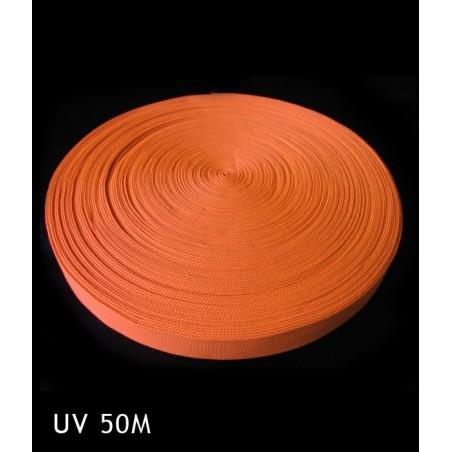 Bande Fluorescente synthétique Orange 50 mètres 25 mm - Décorer, baliser un terrain soirée sport fluo