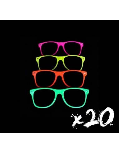 Lunettes fluorescente réactives aux UV lumière noire, modèle wayfarer, lunettes de soleil et de soirée