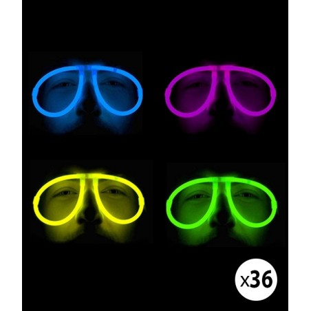Pack 36 Lunettes Fluorescentes lumineuses Aviator 4 couleur fluo Assorties