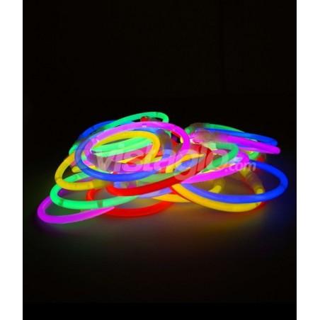 100 Bracelets Fluo Lumineux Standard - Assortis avec connecteurs - Bracelets fluorescent à craquer pour illuminer