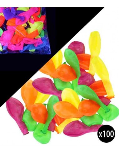 100 Ballons Fluo UV Multicolores