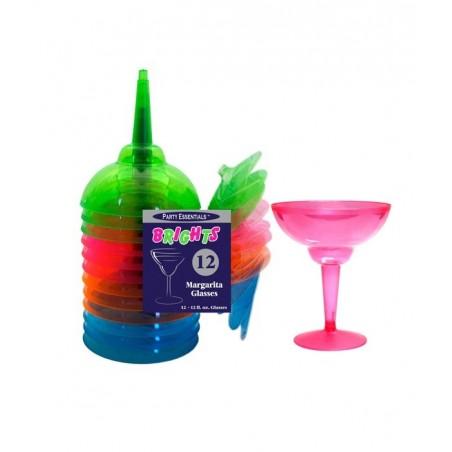12 verres Margarita fluo assortis jetables plastique résistant