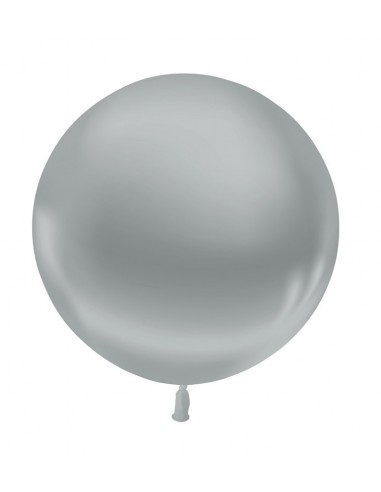 Ballon Rond Latex 60cm Métallisé Argent