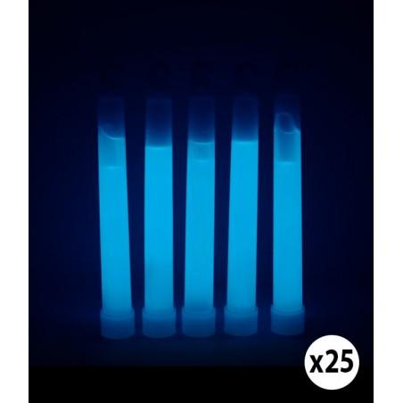 25 Bâtons Glow Sticks Lumineux Fluorescent 15cm 1/1.5cm - BLEU