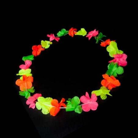 Colliers à Fleurs Hawaïennes - Fluorescent (UV active) Assortis