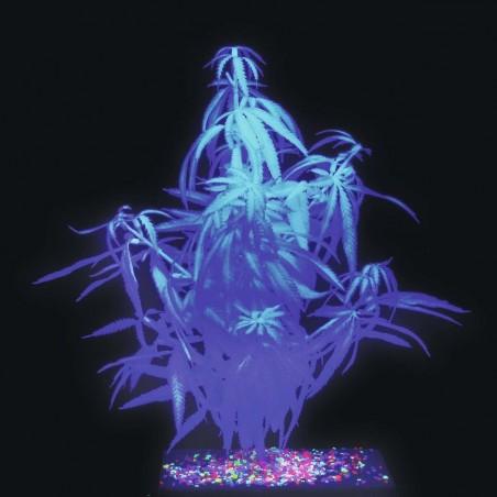 Plante artificielle Chanvre Fluo UV (Cannabis) 50cm Blanc