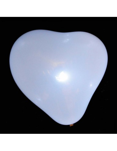 5 Ballons Lumineux LED COEUR - Blancs