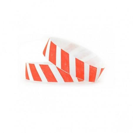 1000 Bracelets évènementiel & identification Papier Tyvek ® SLIM - Rayures colorées rouge fluo