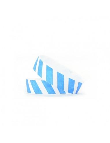 1000 Bracelets évènementiel & identification Papier Tyvek ® SLIM - Rayures colorées bleues
