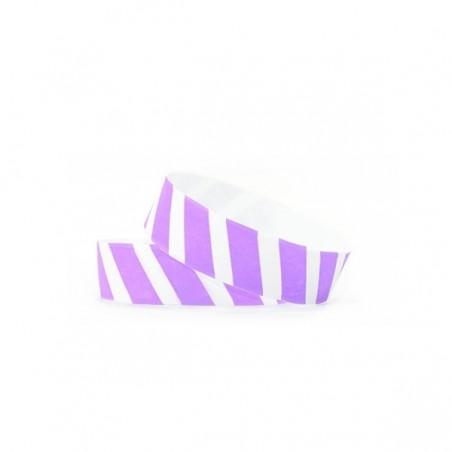 1000 Bracelets évènementiel & identification Papier Tyvek ® SLIM - Rayures colorées violet lavande