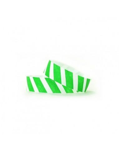 1000 Bracelets évènementiel & identification Papier Tyvek ® SLIM - Rayures colorées vert fluo