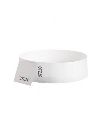 100 Bracelets évènementiel & identification Papier Tyvek largeur 19mm - BLANC - AVEC COUPON détachable