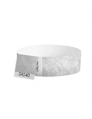 100 Bracelets évènementiel & identification Papier Tyvek largeur 19mm - ARGENT - AVEC COUPON détachable
