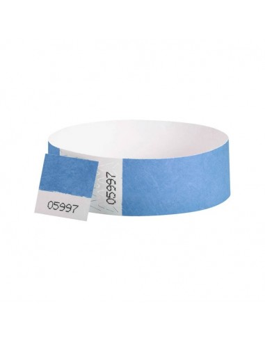 100 Bracelets évènementiel & identification Papier Tyvek largeur 19mm - BLEU CIEL - AVEC COUPON détachable