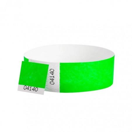 100 Bracelets évènementiel & identification Papier Tyvek largeur 19mm - VERT FLUO - AVEC COUPON détachable