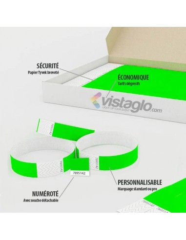 100 Bracelets évènementiel & identification Papier Tyvek largeur 19mm - AVEC COUPON détachable