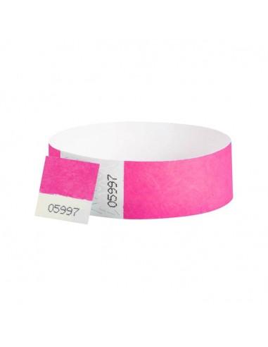 Bracelets contrôle entrée Papier Tyvek ® SLIM 19mm Personnalisés - Evenementiel - ROSE