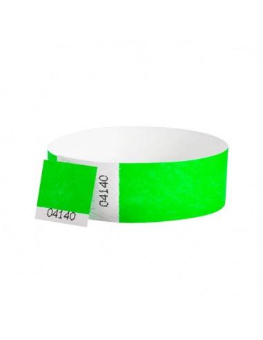 Bracelets contrôle entrée Papier Tyvek ® SLIM 19mm Personnalisés - Evenementiel - VERT FLUO